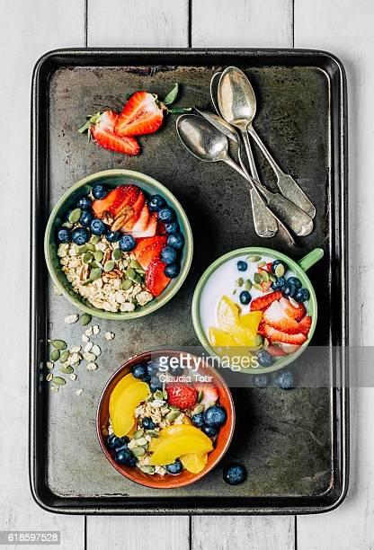 Granola breakfast with fresh fruit