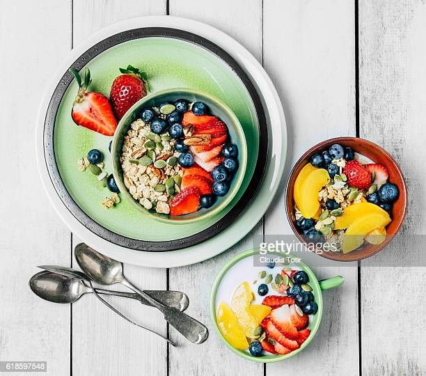 Granola breakfast with fresh fruit