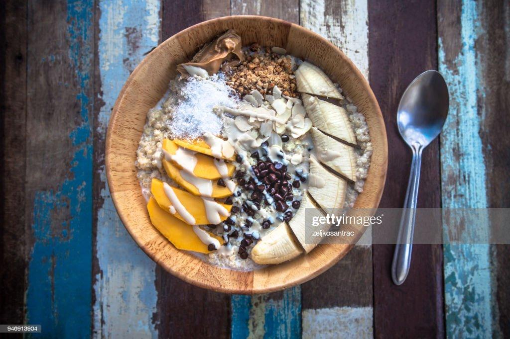Granola fruit yogurt for breakfast : Stock Photo