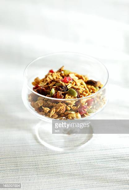 Granola in cup of glass