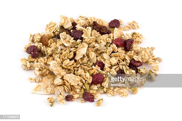 Granola with clusters of wholegrain oats seeds and dried berries
