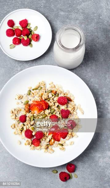 Granola with fruit and milk