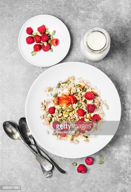 Granola with milk and berries