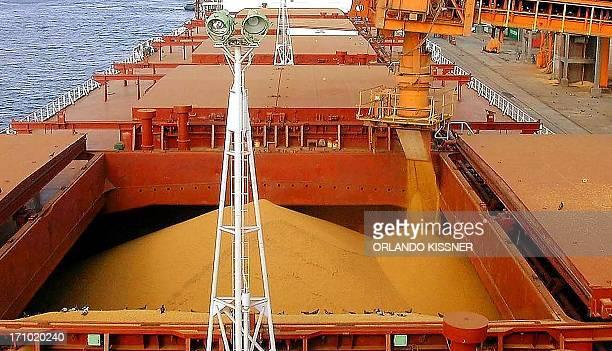 Granos de maíz son cargados en un buque granelero para exportación en el puerto de Paranagua el 13 de mayo de 2003 en Paraná provincia sureña de...