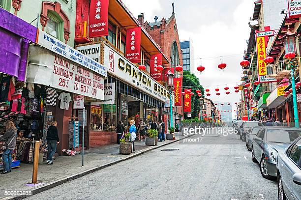 grant ave in san francisco chinatown - san francisco chinatown stock photos and pictures