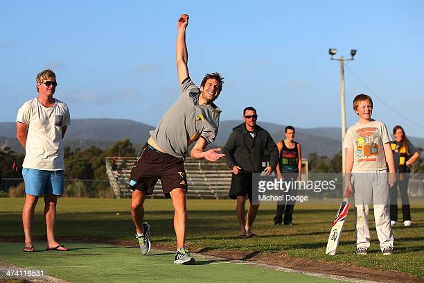 Grant Birchall in a game of cricket with members of the Port Arthur Cricket Club during the Hawthorn Hawks AFL Community Camp on February 22 2014 in...
