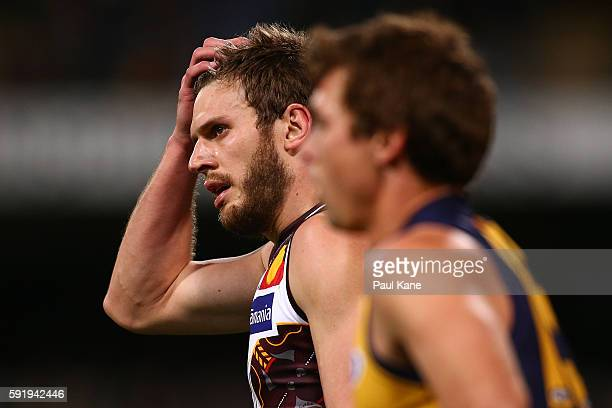 Grant Birchall of the Hawks looks on during the round 22 AFL match between the West Coast Eagles and the Hawthorn Hawks at Domain Stadium on August...