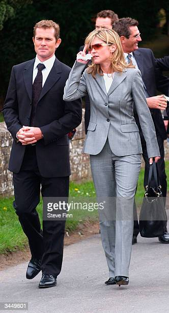 Grant Bovey and Anthea Turner leave the Funeral of Caron Keating following her death from breast cancer last week at Hever Church in Edenbridge on...