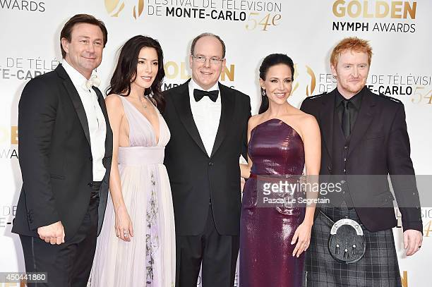 Grant Bowler, Jaime Murray, Prince Albert II of Monaco, Julie Benz and Tony Curran arrive at the closing ceremony of the 54th Monte-Carlo Television...