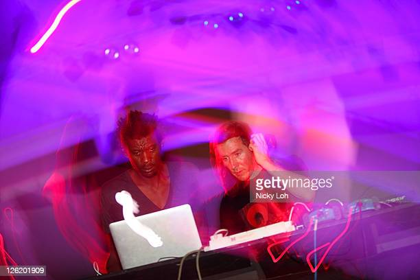 Grant Daddy G Marshall and Robert 3D Del Naja of Massive Attack perform on stage during the Singapore Formula One Grand Prix at the Esplanade on...