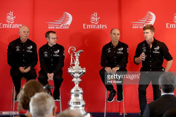 Grant Dalton Dan Bernasconi Kevin Shoebridge and Peter Burling of Team New Zealand during the announcement of the Protocol Rules for the 36th...