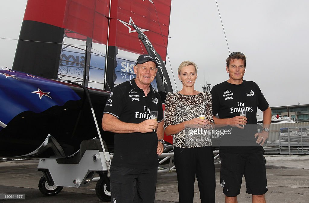 Grant Dalton Managing Director of Team New Zealand (L), Mandy Barker and skipper Dean Barker (R) pose after the launch of the Emirates Team New Zealand boat at the Viaduct Harbour on February 4, 2013 in Auckland, New Zealand.