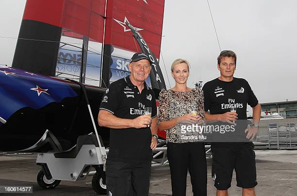 Grant Dalton Managing Director of Team New Zealand Mandy Barker and skipper Dean Barker pose after the launch of the Emirates Team New Zealand boat...
