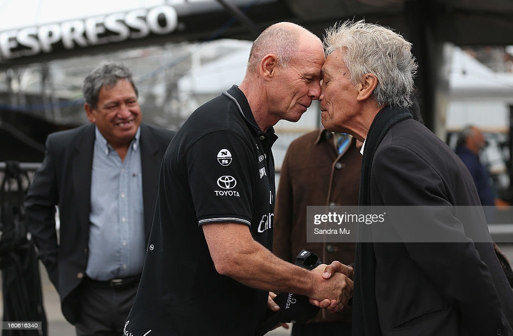 Grant Dalton, Managing Director of Team New Zealand receives a hongi (nose press) from Alec Hawke of Ngati Whatua Orakei during the launch of the Emirates Team New Zealand boat at the Viaduct Harbour on February 4, 2013 in Auckland, New Zealand.