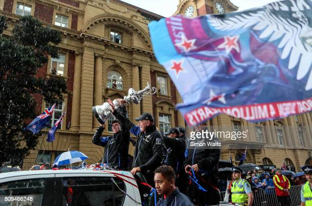 Grant Dalton of Team New Zealand celebrates as he holds the Americas Cup during the Team New Zealand Americas Cup Welcome Home Parade on July 6 2017...