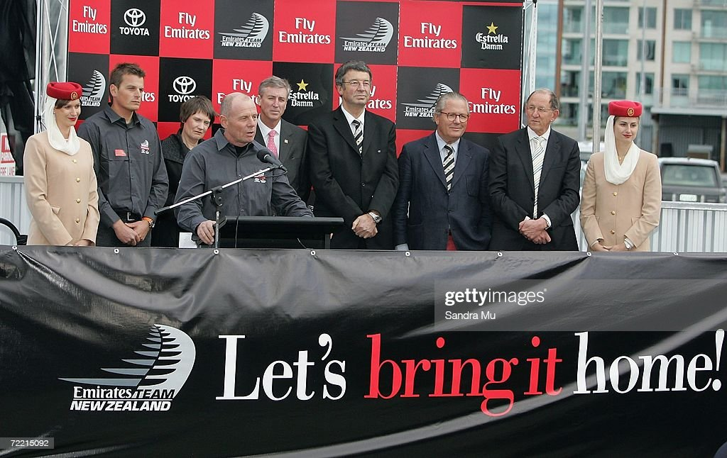 Grant Dalton, Team New Zealand Managing Director, addresses the crowd during the Team New Zealand America's Cup boat launch at Viaduct Harbour on October 19, 2006 in Auckland, New Zealand.