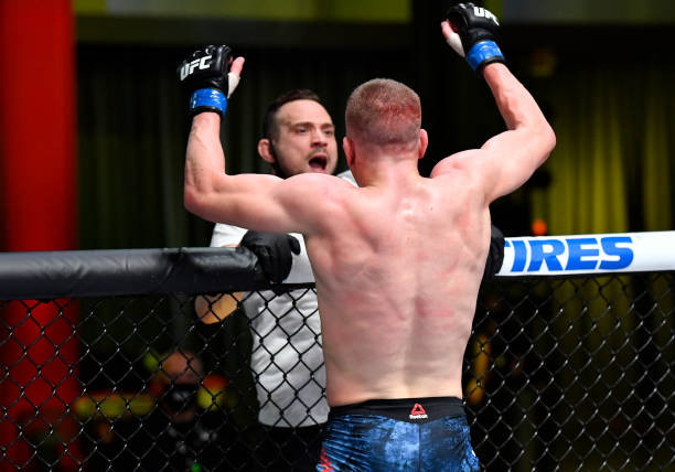Grant Dawson reacts after his last-second knockout of Leonardo Santos of Brazil in their middleweight fight during the UFC Fight Night event at UFC...