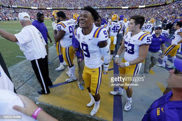 Grant Delpit of the LSU Tigers celebrates during the second half against the Georgia Bulldogs at Tiger Stadium on October 13 2018 in Baton Rouge...