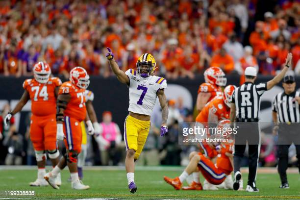 Grant Delpit of the LSU Tigers reacts after sacking Trevor Lawrence of the Clemson Tigers during the first quarter in the College Football Playoff...