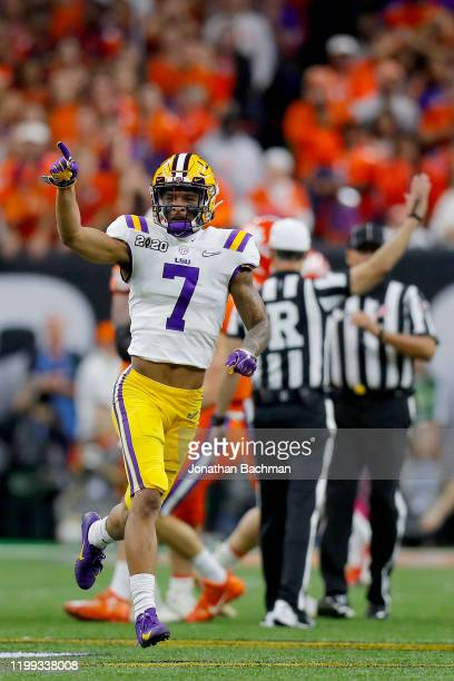 Grant Delpit of the LSU Tigers reacts against the Clemson Tigers during the first quarter in the College Football Playoff National Championship game...