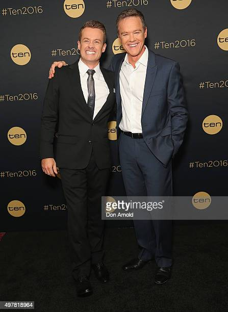 Grant Denyer and Stefan Dennis pose at The Star during the Network 10 Content Plan 2016 event on November 19 2015 in Sydney Australia