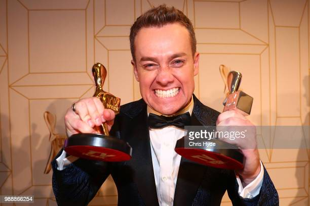 Grant Denyer celebrates winning the Gold Logie at the 60th Annual Logie Awards at The Star Gold Coast on July 1 2018 in Gold Coast Australia