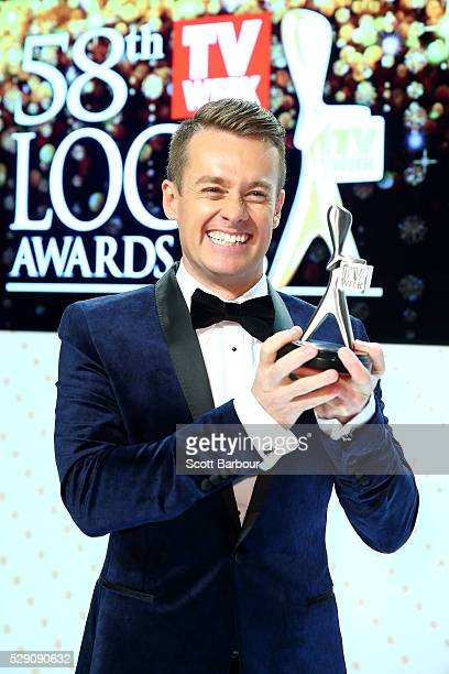 Grant Denyer poses with the Logie Award for Best Entertainment Program 'Family Feud' during the 58th Annual Logie Awards at Crown Palladium on May 8...
