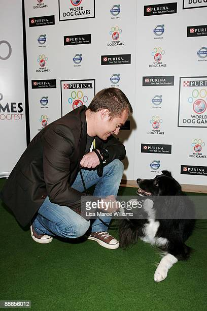 Grant Denyer with dog Howard attend the launch of The Purina World Dog Games at Centennial Park Dining on June 24 2009 in Sydney Australia