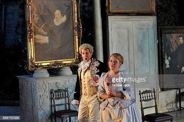 Grant Doyle as Count Almaviva and Sophie Evans as Susanna in Garsington Opera's production of Wolfgang Amadeus Mozart's Le Nozze Di Figaro directed...
