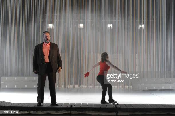 Grant Doyle as Enric and Alice Poggio as Nuria in David Sawer's The Skating Rink directed by Stewart Laing and conducted by Garry Walker at...