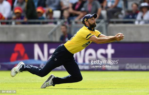Grant Elliott of Birmingham catches the ball to dismiss Colin Ingram of Glamorgan during the NatWest T20 Blast Semi-Final match between Birmingham...