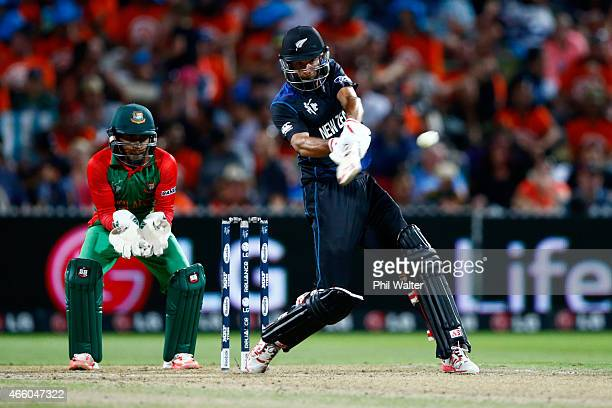 Grant Elliott of New Zealand bats during the 2015 ICC Cricket World Cup match between Bangladesh and New Zealand at Seddon Park on March 13 2015 in...