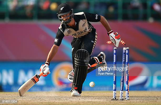 Grant Elliott of New Zealand is run out during the ICC World Twenty20 India 2016 Super 10s Group 2 match between Australia and New Zealand at HPCA...