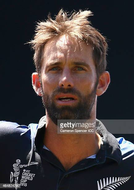 Grant Elliott of New Zealand sings the New Zealand national anthem during the 2015 ICC Cricket World Cup match between Australia and New Zealand at...