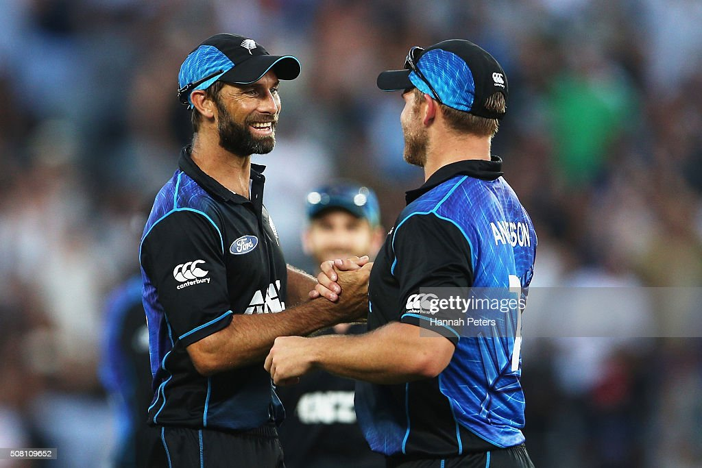 Grant Elliott of the Black Caps celebrates with Corey Anderson of the Black Caps after winning the One Day International match between New Zealand and Australia at Eden Park on February 3, 2016 in Auckland, New Zealand.