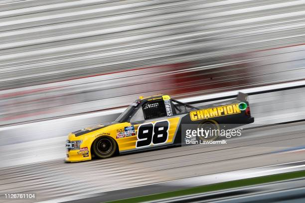 Grant Enfinger driver of the Champion Power Equipment Ford drives during practice for the NASCAR Gander Outdoor Truck Series Ultimate Tailgating 200...