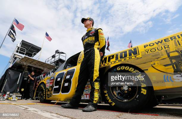 Grant Enfinger driver of the Champion Power Equipment/Curb Records Toyota during practice for the NASCAR Camping World Truck Series LTI Printing 200...