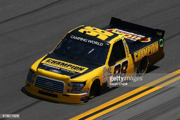 Grant Enfinger driver of the Champion Power Equipment/Curb Records Ford practices for the NASCAR Camping World Truck Series NextEra Energy Resources...