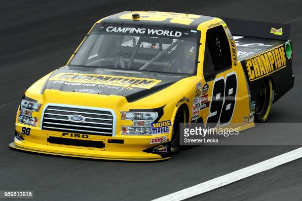 Grant Enfinger driver of the Champion Power Equipment/Curb Records Ford during practice for the NASCAR Camping World Truck Series North Carolina...