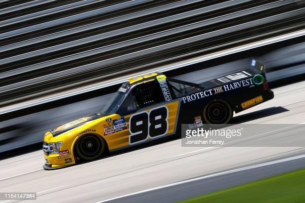 Grant Enfinger driver of the ProtectTheHarvestcom Ford practices for the NASCAR Gander Outdoors Truck Series SpeedyCashcom 400 at Texas Motor...