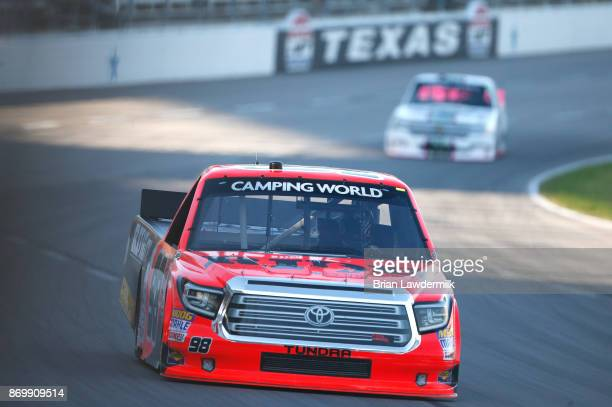 Grant Enfinger driver of the Ride TV Toyota practices for the NASCAR Camping World Truck Series JAG Metals 350 Driving Hurricane Harvey Relief at...