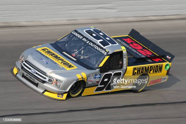 Grant Enfinger driver of the ThorSport Racing Champion/Curb Records Ford during practice for the NextEra Energy 250 on February 13 2020 at Daytona...