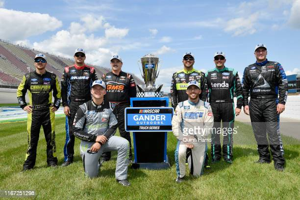 Grant Enfinger driver of the ThorSport Racing/Curb Records Ford Stewart Friesen driver of the Halmar International Chevrolet Tyler Ankrum driver of...