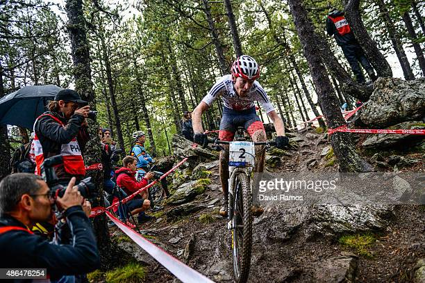 Grant Ferguson of Great Britan competes in the Men's Under 23 CrossCountry Olympic race on day 4 of the UCI Mountain Bike Trials World Championships...