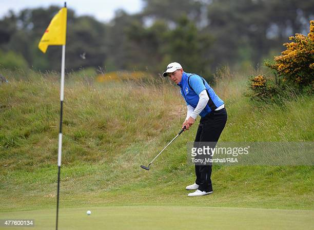 Grant Forrest of Craigielaw chips onto the 12th green during The Amateur Championship 2015 Day Four at Carnoustie Golf Club on June 18 2015 in...