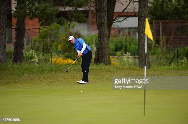 Grant Forrest of Craigielaw chips onto the 9th green during The Amateur Championship 2015 Day Four at Carnoustie Golf Club on June 18 2015 in...