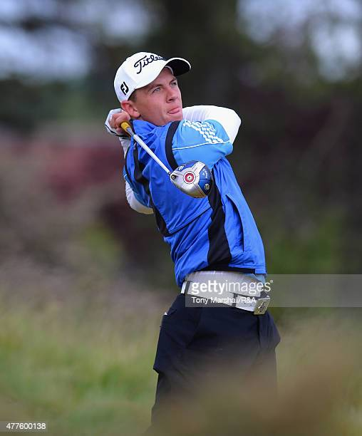 Grant Forrest of Craigielaw plays his first shot on the 12th tee during The Amateur Championship 2015 Day Four at Carnoustie Golf Club on June 18...