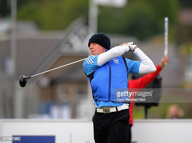 Grant Forrest of Craigielaw plays his first shot on the 1st tee during The Amateur Championship 2015 Day Four at Carnoustie Golf Club on June 18 2015...