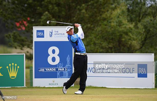 Grant Forrest of Craigielaw plays his first shot on the 8th tee during The Amateur Championship 2015 Day Four at Carnoustie Golf Club on June 18 2015...