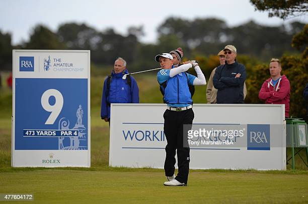 Grant Forrest of Craigielaw plays his first shot on the 9th tee during The Amateur Championship 2015 Day Four at Carnoustie Golf Club on June 18 2015...